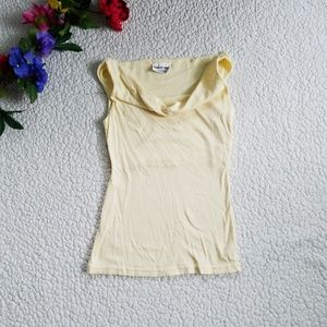 Michael Stars Drape Front Top One Size Yellow